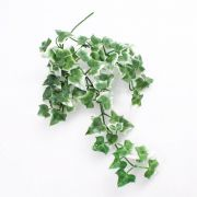 """Plastic Ivy hanging plant QUILL, on spike, green-white, 14""""/35cm"""