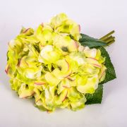 "Bouquet of artificial Hydrangeas KLARA, yellow-green, 12""/30cm, Ø 7""/18cm"