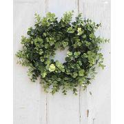"""Artificial eucalyptus wreath DAVIN, green, Ø12""""/30cm"""