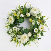 "Spring wreath FAHIRA with ranunculus, daisies, cream, Ø 10""/25cm"