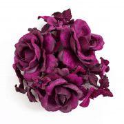 "Ring INGA with heads of Roses, Hydranga blooms, purple, Ø 4""/10cm"
