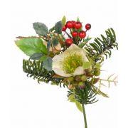 "Silk bouquet LILLY, Christmas rose, berries, cream, 7""/17cm, Ø4.7""/12cm"