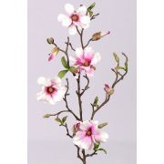 "Artificial magnolia spray MARGA, pink-fuchsia, 31""/80cm, Ø2.4""-3.1""/6-8cm"