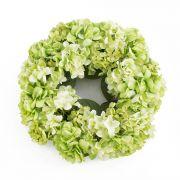 "Wreath of Hydrangeas on rattan, apple-green, Ø14""/35cm"