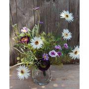 Bouquet of fake gerberas MAKANA, ranunculus, rose, white-violet, 45cm