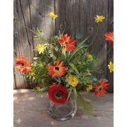 Bouquet of fake gerberas MAKANA, ranunculus, rose, orange-yellow, 45cm
