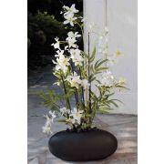 "Artificial Dendrobium orchid AMALIE, bamboo, ceramic pot, white, 26""/65cm"