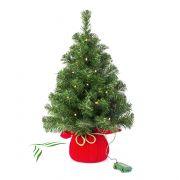 """Fake Xmas tree WARSAW, jute bag in red, LEDs, 24""""/60cm, Ø 16""""/40cm"""