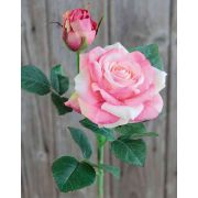 "Artificial rose SINJE, light pink-green, 14""/35cm, Ø3.5""/9cm"