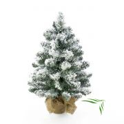 "Fake Christmas tree REYKJAVIK, jute bag, snow-covered, white, 18""/45cm, Ø 8""/20cm"