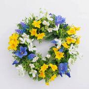 """Spring wreath FILIPPA with daffodil, hyacinths, yellow-blue, Ø12""""/30cm"""