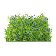 "Plastic boxwood mat / hedge KEIL with flowers, green-purple, 10x10""/25x25cm"