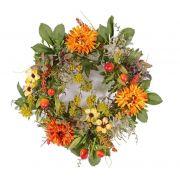 "Artificial autumn wreath SABINE, gerbera, yellow-orange, Ø12""/30cm"