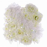 "Fake rose dahlia hydrangea mat EVOLET, white, 10""x10""/25x25cm"
