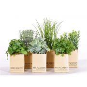 "Fake herb mix CHUCK in paper pot, 6 pcs, green, 6""-10""/15-25cm"