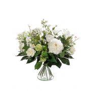 "Artificial flower bouquet FEME, white-green, 24""/60cm, Ø16""/40cm"