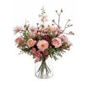 """Artificial flower bouquet FEME, light pink-green, 26""""/65cm, Ø16""""/40cm"""