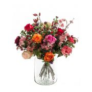 "Artificial flower bouquet FEME, orange-light pink, 18""/45cm, Ø16""/40cm"