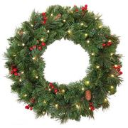 "Artificial Christmas wreath BUCHAREST, decorated, LEDs, Ø24""/60cm"