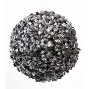 "Artificial boxwood ball FRITZ, glitter, black-silver, Ø9""/22cm"