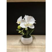 Artificial Phalaenopsis orchid KIANY in ceramic pot, white, 20cm