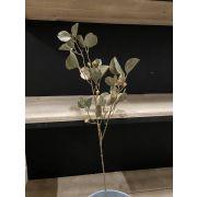 Artificial Eucalyptus Branch AMADU with fruits, glitter, green-gold, 80cm
