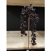 Art elderberry branch BARIS with fruits, black-purple, 60cm